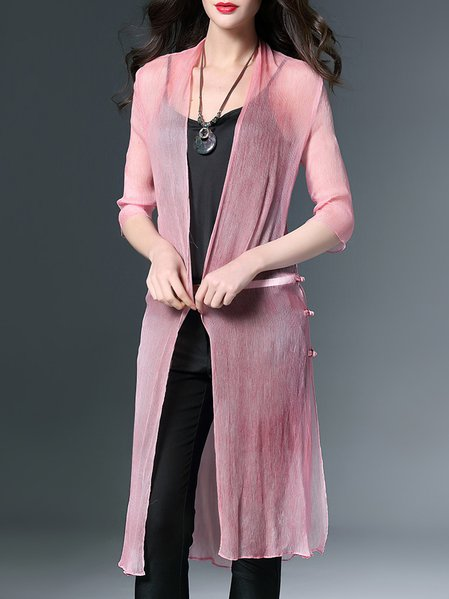 Pink Plain 3/4 Sleeve Ribbed Coat