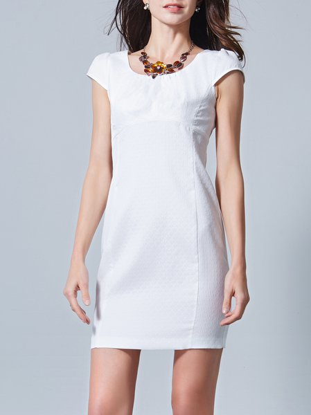 White Short Sleeve Plain Crew Neck Mini Dress