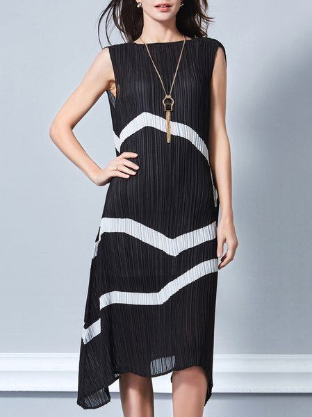 Black Stripes Casual Two Piece Midi Dress