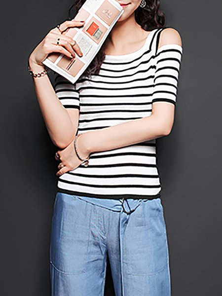 Short Sleeve Casual Stripes T-Shirt