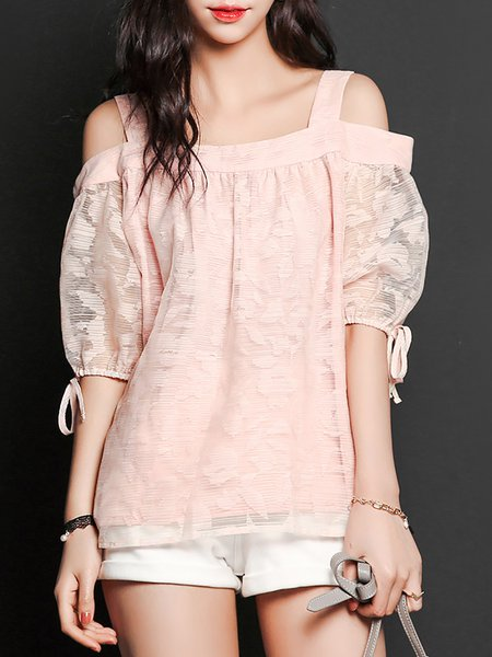 Pink Casual Ribbed Off Shoulder H-line Blouse