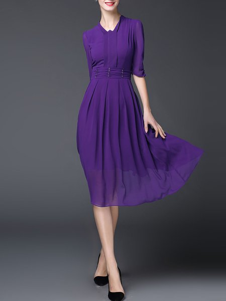 Purple Half Sleeve Plain Midi Dress