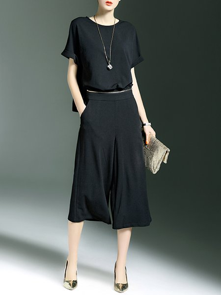Black Simple H-line Polyester Pockets Jumpsuit
