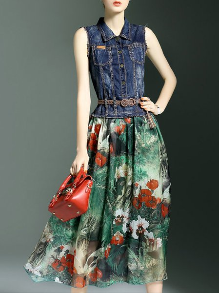 Multicolor Floral Polyester Sleeveless Midi Dress