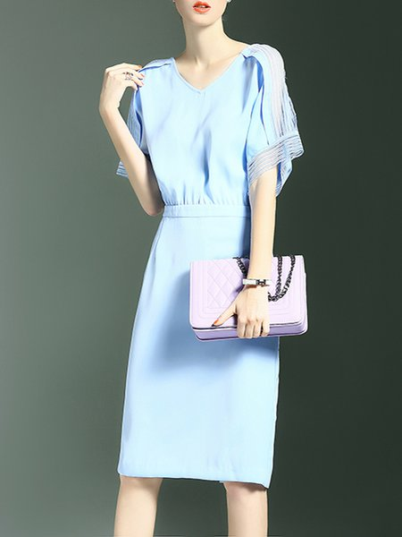 Blue V Neck Simple Polyester Midi Dress