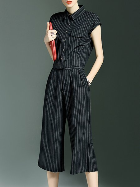 Black Stripes Pockets Two Piece Simple Jumpsuit