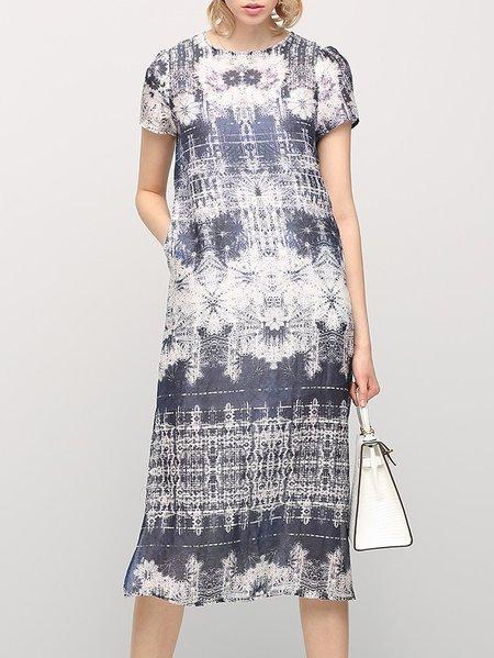 Casual Short Sleeve A-line Midi Dress