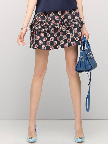 Multicolor Casual Geometric A-line Polyester Mini Skirt