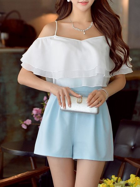 White Casual H-line Asymmetric Plain Romper
