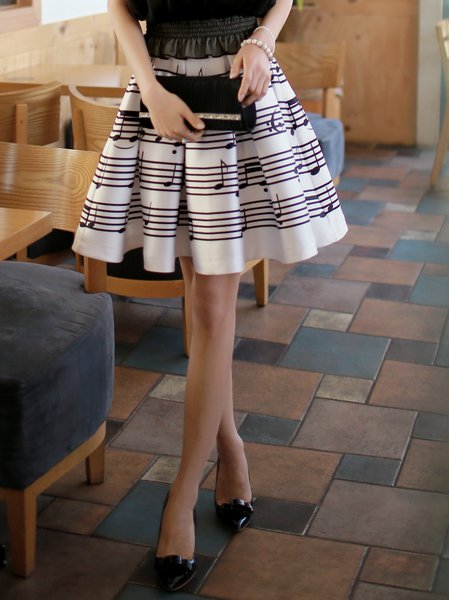White A-line Polyester Sweet Stripes Midi Skirt