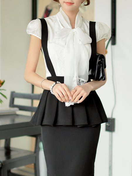 White H-line Plain Work Short Sleeved Top