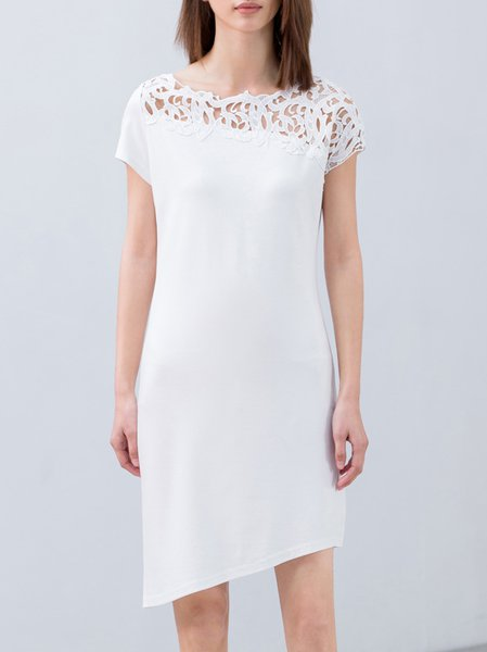 White Pierced Asymmetric Short Sleeve Midi Dress