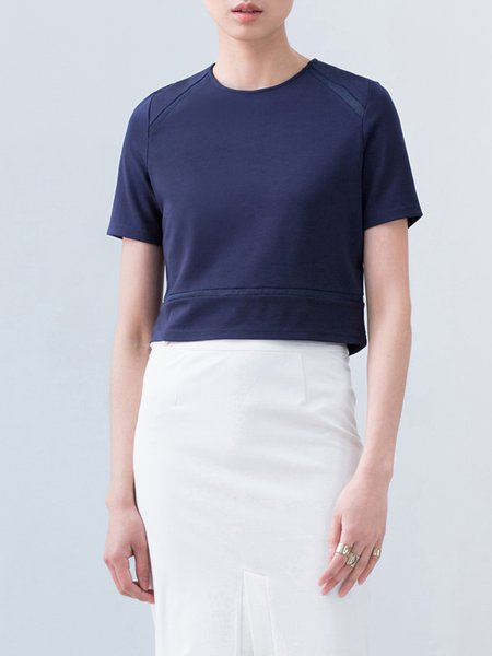 Simple Short Sleeve Crew Neck Zipper Cropped Top