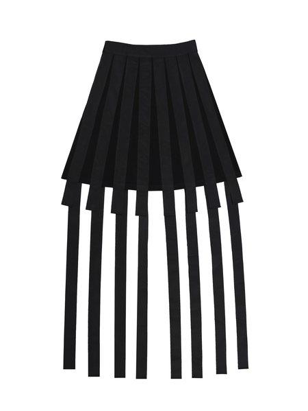Black Statement Plain Midi Skirt