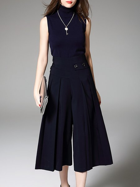 Navy Blue Turtleneck Polyester Sleeveless Two Piece Jumpsuit