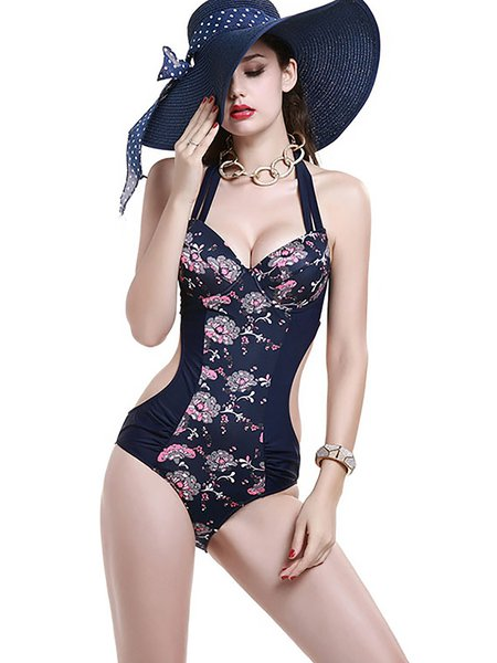 Navy Blue Floral Straped Nylon Cut-outs One-Piece
