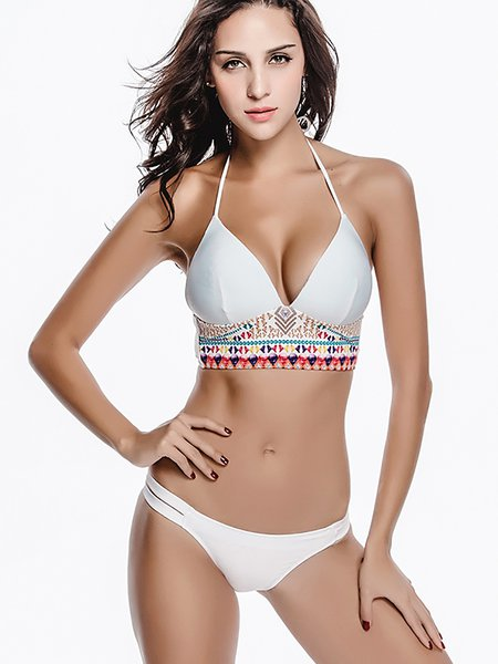 White Triangle Nylon Color-block Bikini