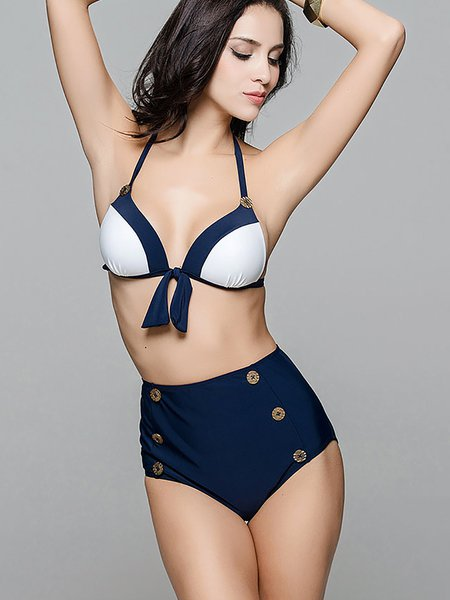 Dark Blue Bow Halter High Rise Bikini