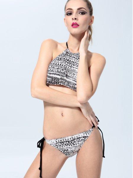 Printed Multicolor High-neck Halter Polyamide Padded Bikini