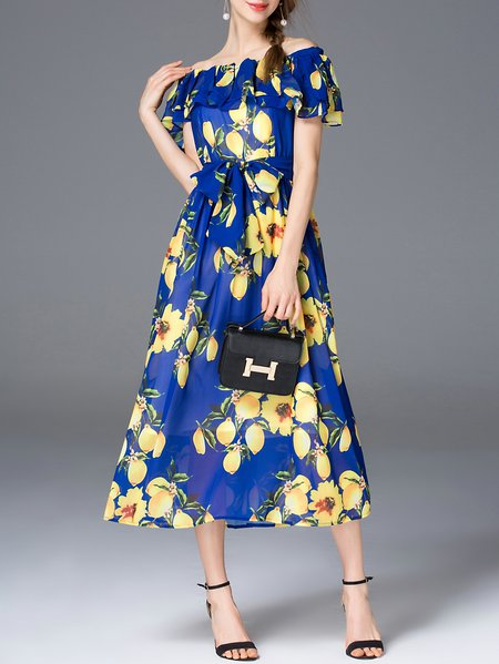 Blue Floral-print Short Sleeve Maxi Dress