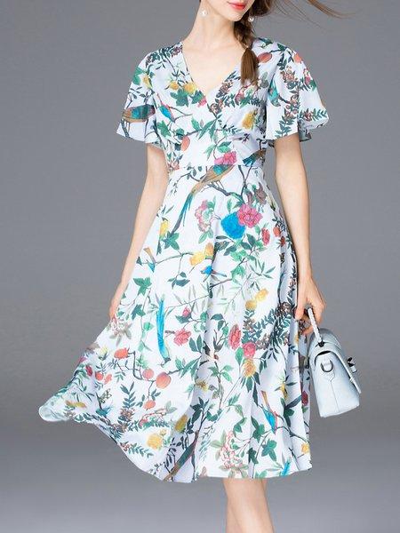 Blue Short Sleeve Floral-print Midi Dress