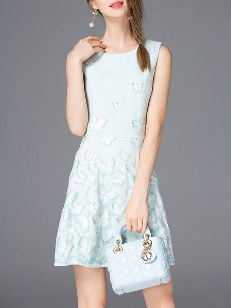 Green Appliqued Sleeveless Mini Dress