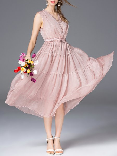 Pink Sleeveless V Neck Polyester Midi Dress