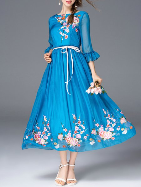 Blue Embroidered Floral 3/4 Sleeve Midi Dress
