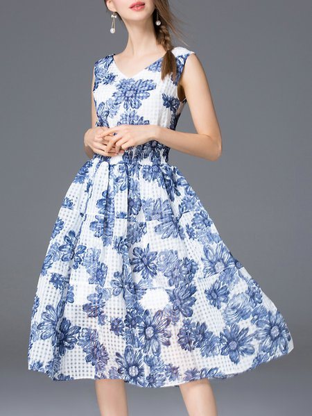 Blue Sleeveless Floral V Neck A-line Midi Dress