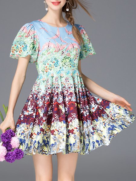 Multicolor Short Sleeve A-line Mini Dress