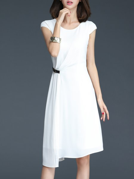 Crew Neck Short Sleeve Work Polyester Midi Dress