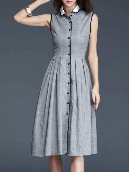 Gray Cotton Checkered/Plaid Buttoned Sleeveless Midi Dress