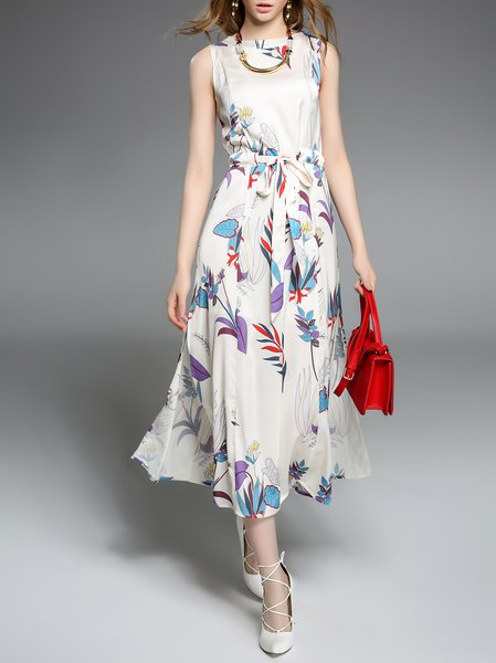 White Crew Neck Printed Floral Sleeveless Midi Dress