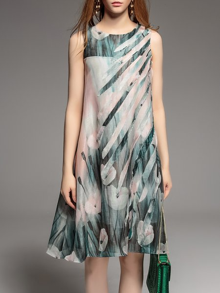 Green Silk Floral Casual Midi Dress