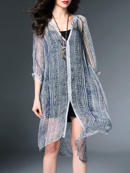 Gray 3/4 Sleeve Two Piece Silk Midi Dress