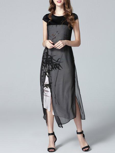 Vintage Printed Short Sleeve H-line Midi Dress