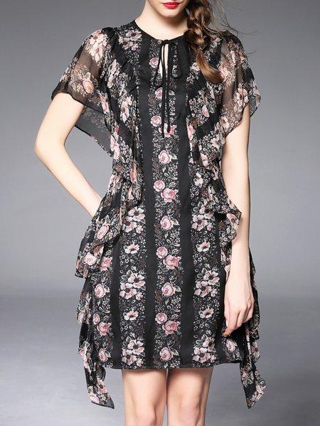Black Floral Crew Neck Girly Mini Dress