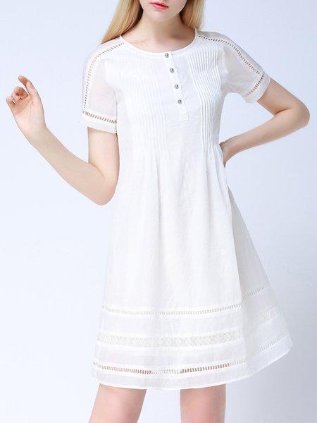 Polyester Pierced Short Sleeve Simple Shirt Dress