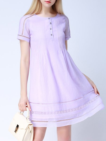 Purple Short Sleeve Crew Neck Shirt Dress