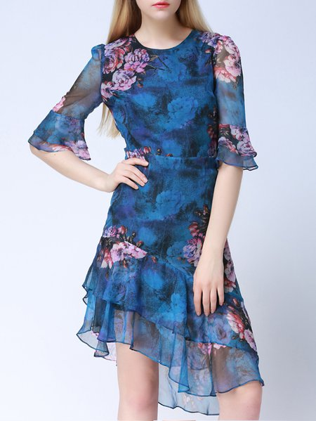 Crew Neck Frill Sleeve Elegant Midi Dress