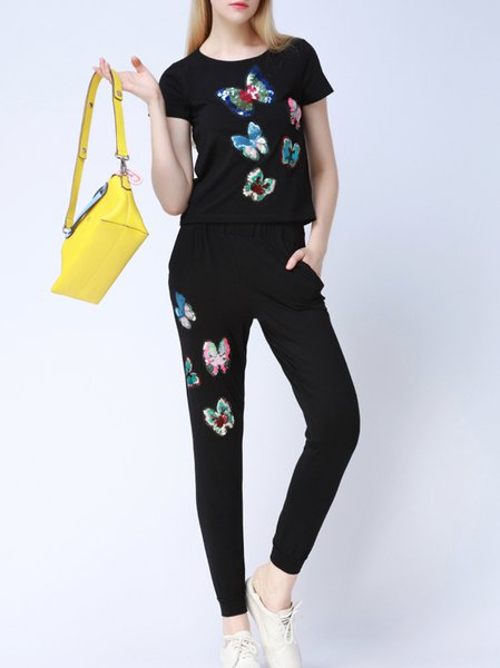 Embroidered Casual Two Piece Short Sleeve Jumpsuit