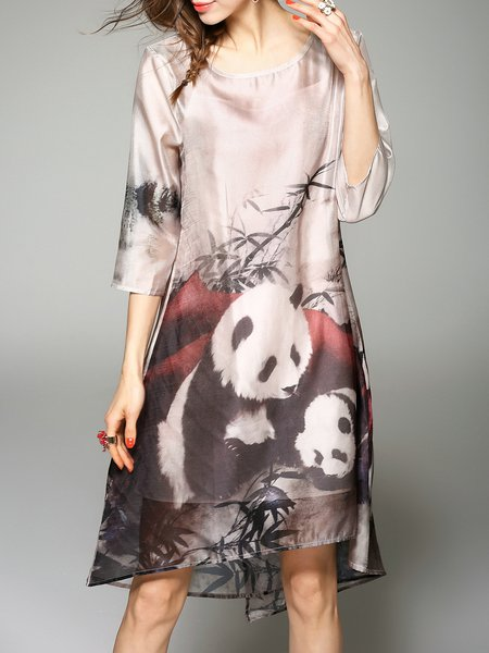 Multicolor Animal Print Vintage Printed Midi Dress