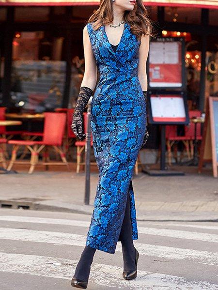 Blue Floral Jacquard Vintage Sheath Maxi Dress