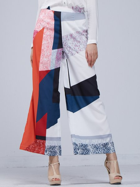 Multicolor Cotton-blend Color-block Wide Leg Pants