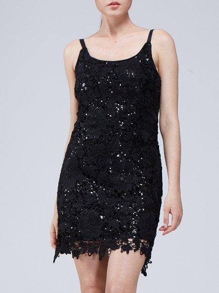 Black Plain Beaded Spaghetti Mini Dress