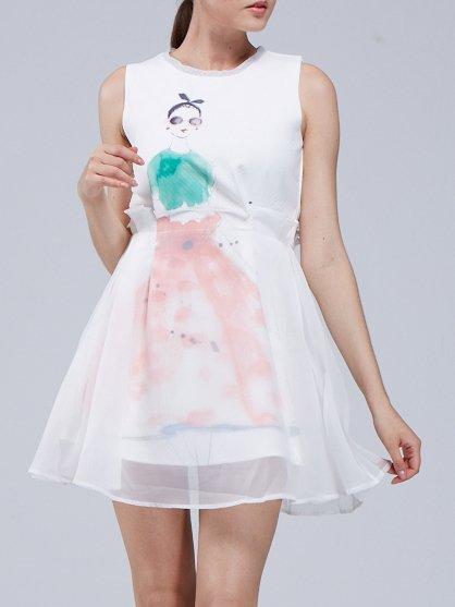 White Sleeveless Crew Neck A-line Mini Dress