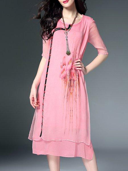Vintage Crew Neck Short Sleeve Silk Midi Dress