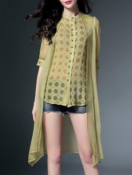 Silk Paneled 3/4 Sleeve Sheath Casual Tunic