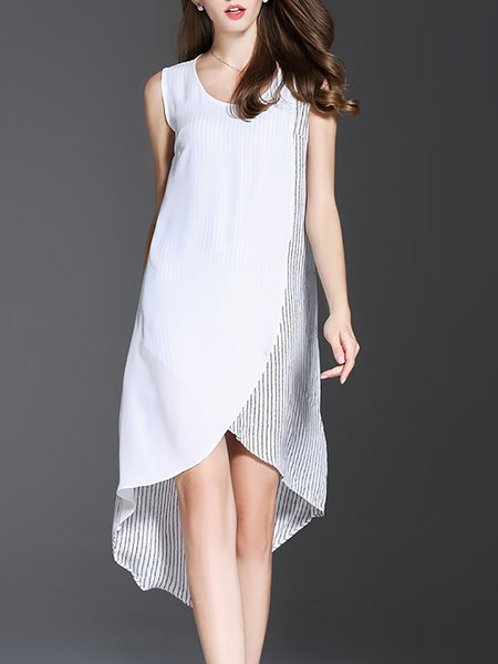 White Sleeveless Stripes Linen Asymmetric Midi Dress