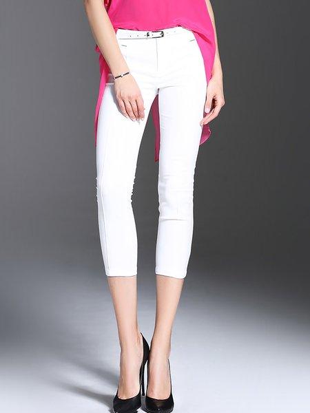 White Pockets Cotton Plain Cropped Pants